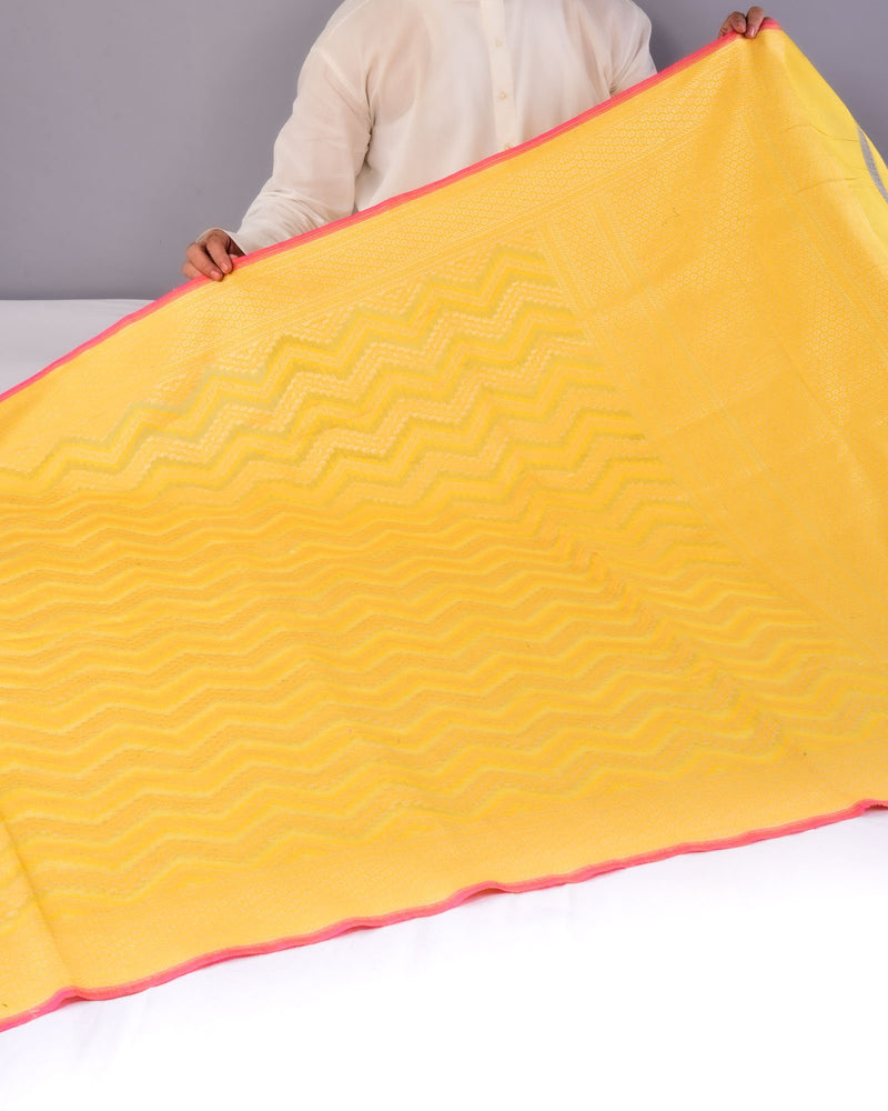 Yellow Banarasi Chevron Alfi Cutwork Brocade Handwoven Cotton Silk Saree