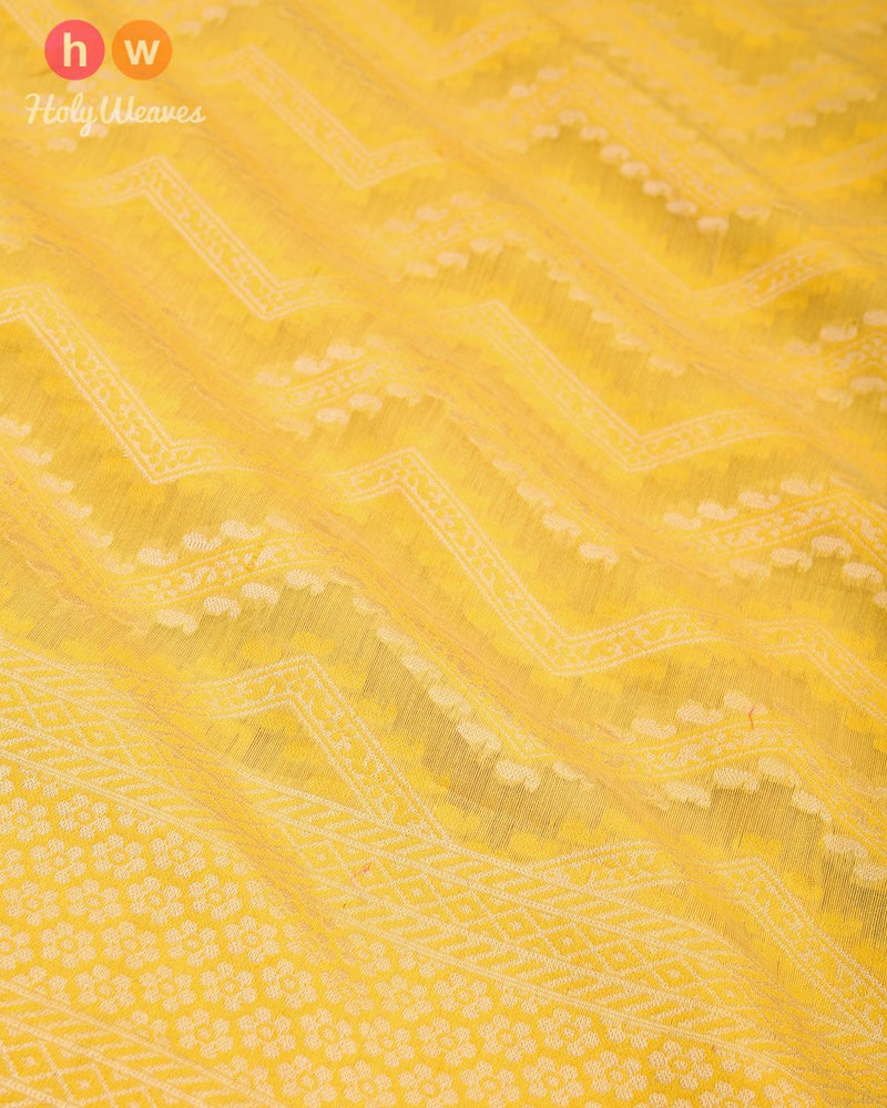 Yellow Banarasi Chevron Alfi Cutwork Brocade Handwoven Cotton Silk Saree - HolyWeaves