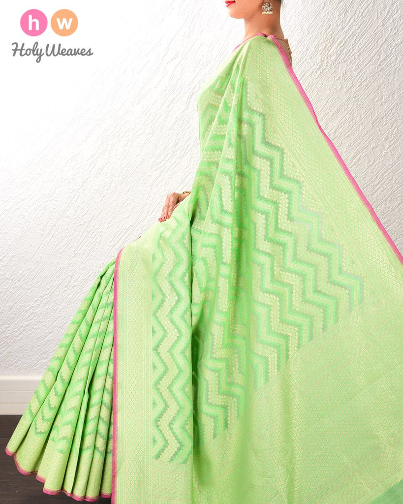 Green Banarasi Cutwork Brocade Handwoven Cotton Silk Saree