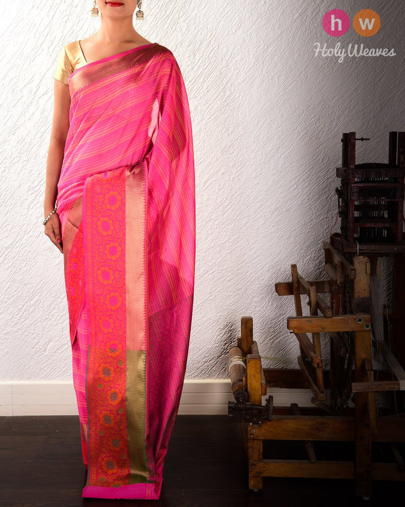 Pink Striped Woven Cotton Silk Saree with Brocade Border Pallu