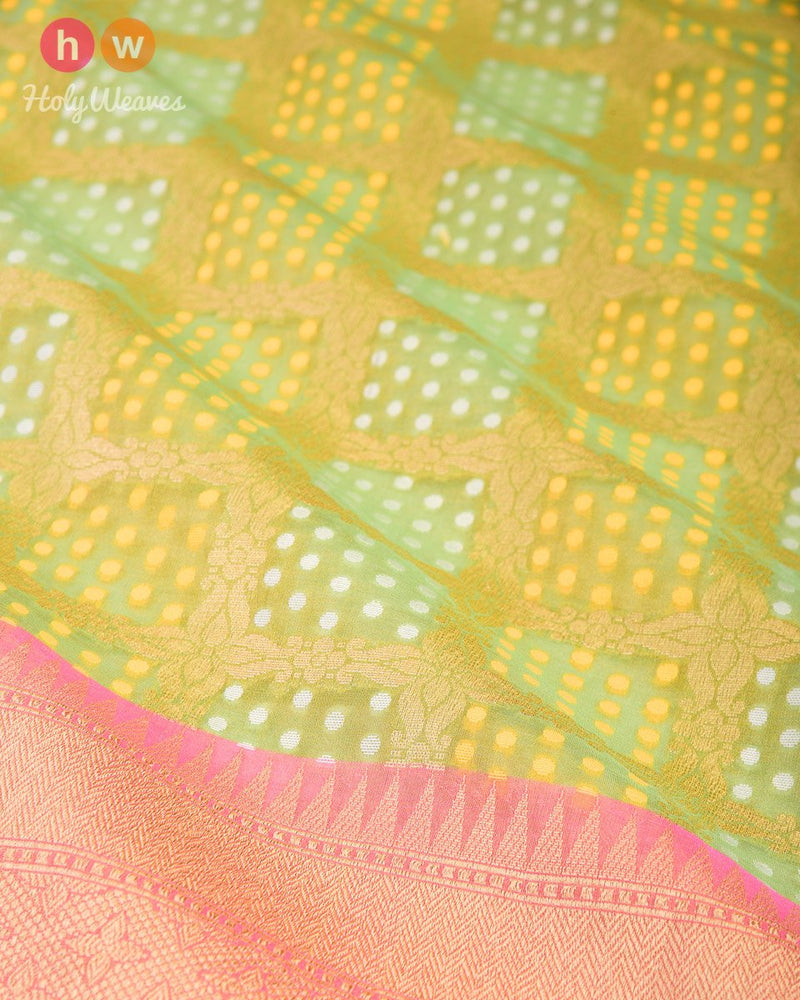 Sage Green Banarsi Checks & Dots Alfi Cutwork Brocade Handwoven Kora Tissue Saree