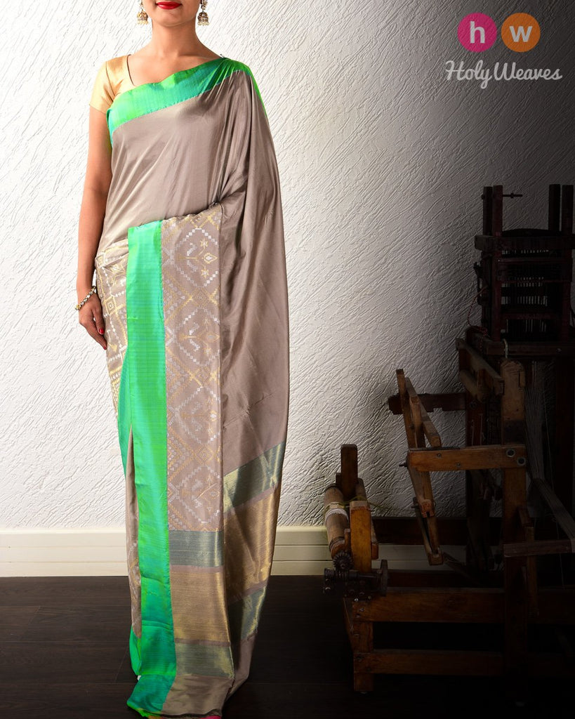 Stone Gray Cutwork Brocade Handwoven Katan Silk Saree