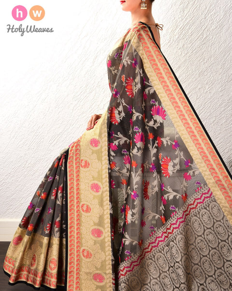 Charcoal Gray Kamal Jaal Cutwork Brocade Woven Cotton Silk Saree with Tissue Border