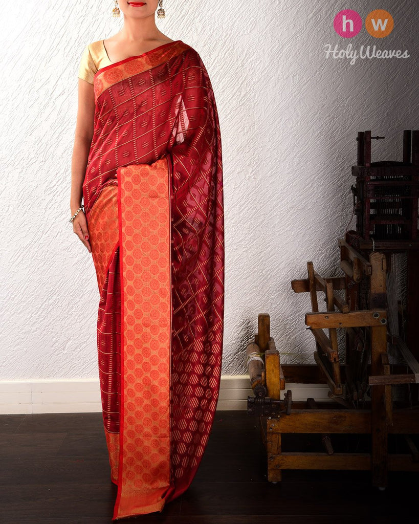 Auburn Red Zebra Checks Cutwork Brocade Woven Cotton Silk Saree with Tissue Border