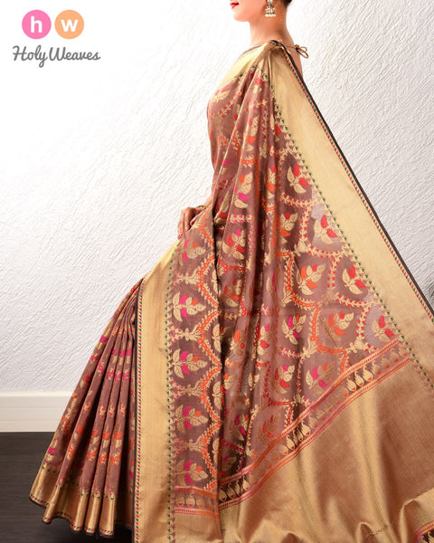 Tuscan Brown Banarasi Jangla Cutwork Brocade Woven Cotton Silk Saree