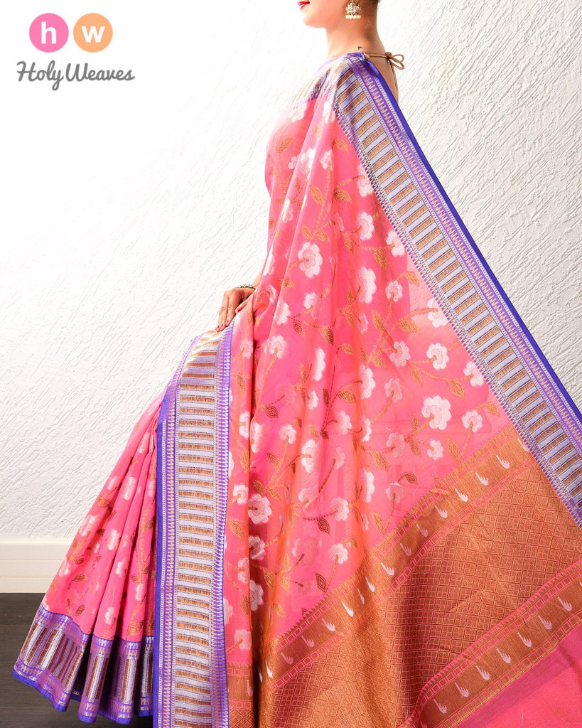 Light Coral Pink Antique and Silver Jaal Cutwork Brocade Woven Cotton Silk Saree