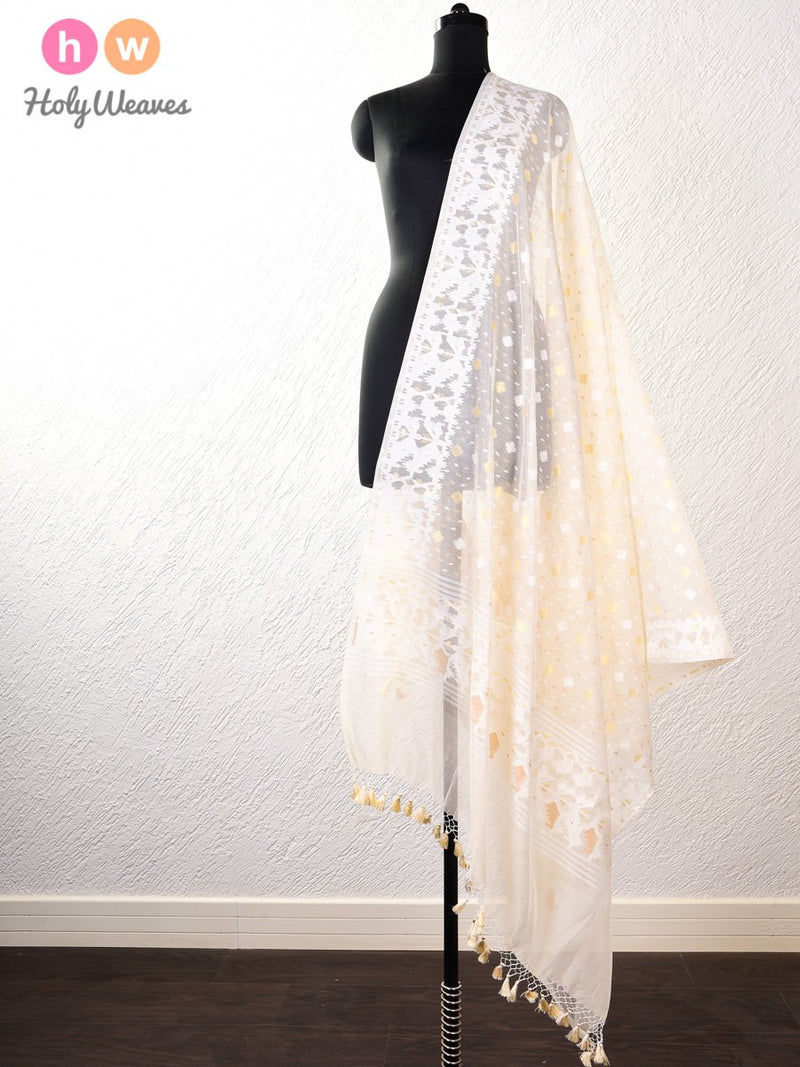 Cream Cutwork Brocade Woven Cotton Silk Dupatta - HolyWeaves