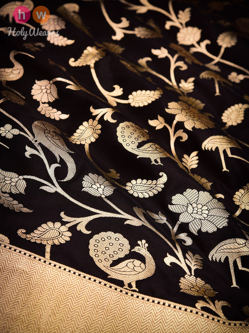 Black Banarasi Shikargah Cutwork Brocade Handwoven Katan Silk Saree - HolyWeaves