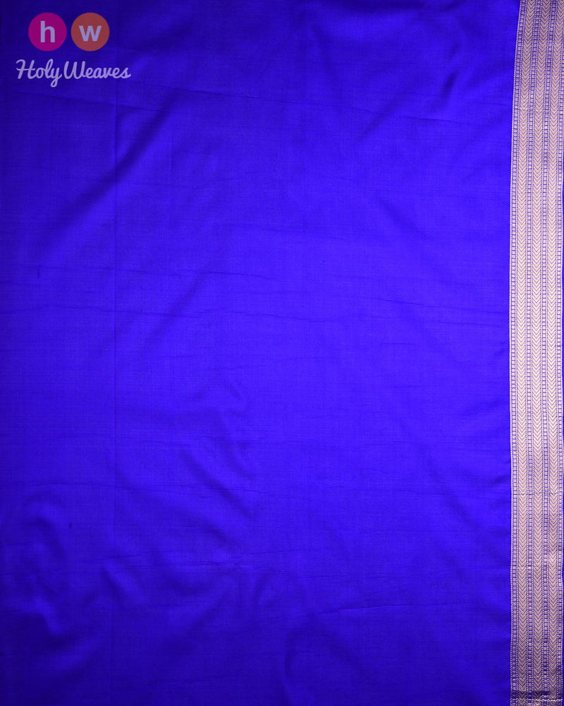 Royal Blue Banarasi Shikargah Cutwork Brocade Handwoven Katan Silk Saree - HolyWeaves