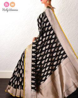 Black Banarasi Zari Buti Cutwork Brocade Handwoven Katan Silk Saree- HolyWeaves