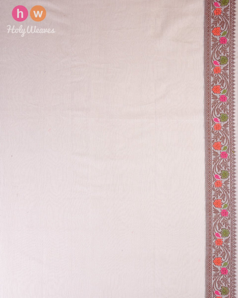Cream Banarasi Cutwork Brocade Woven Art Cotton Silk Saree