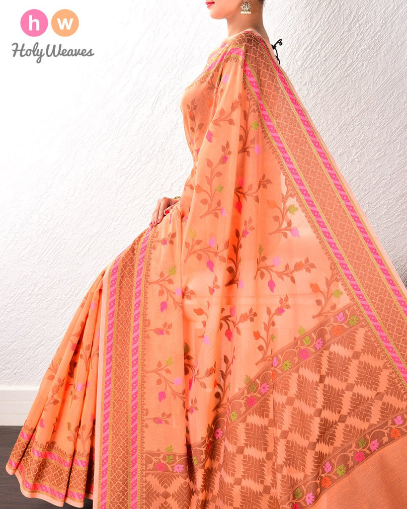 Orange Banarasi Cutwork Brocade Woven Art Cotton Silk Saree