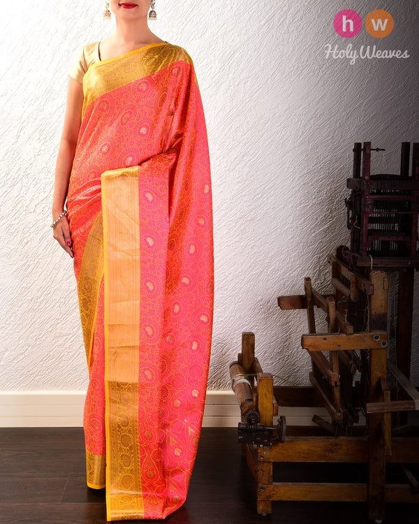 Pink Floral Jangla Cutwork Brocade Woven Art Cotton Silk Saree - HolyWeaves