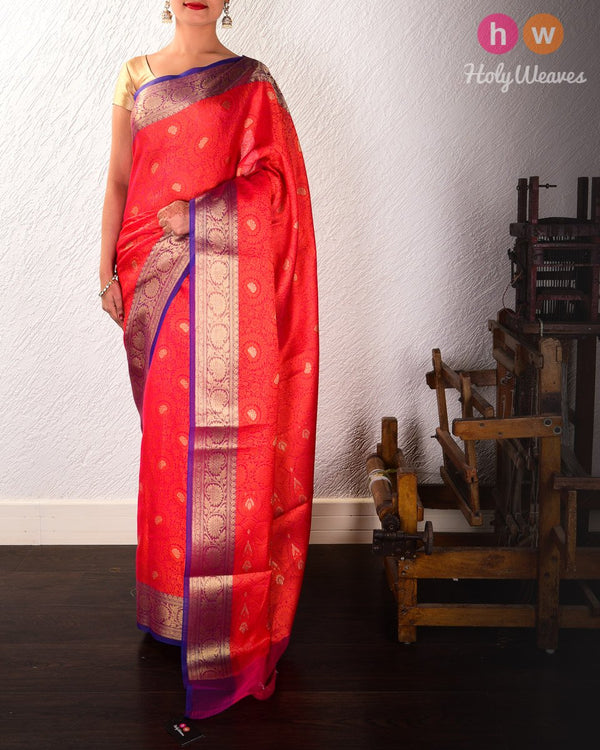 Red Floral Jangla Cutwork Brocade Woven Art Cotton Silk Saree - HolyWeaves