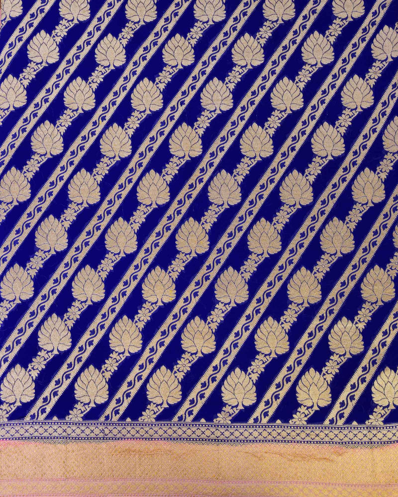 Royal Blue Banarasi Leheriya Cutwork Brocade Handwoven Khaddi Georgette Saree - HolyWeaves