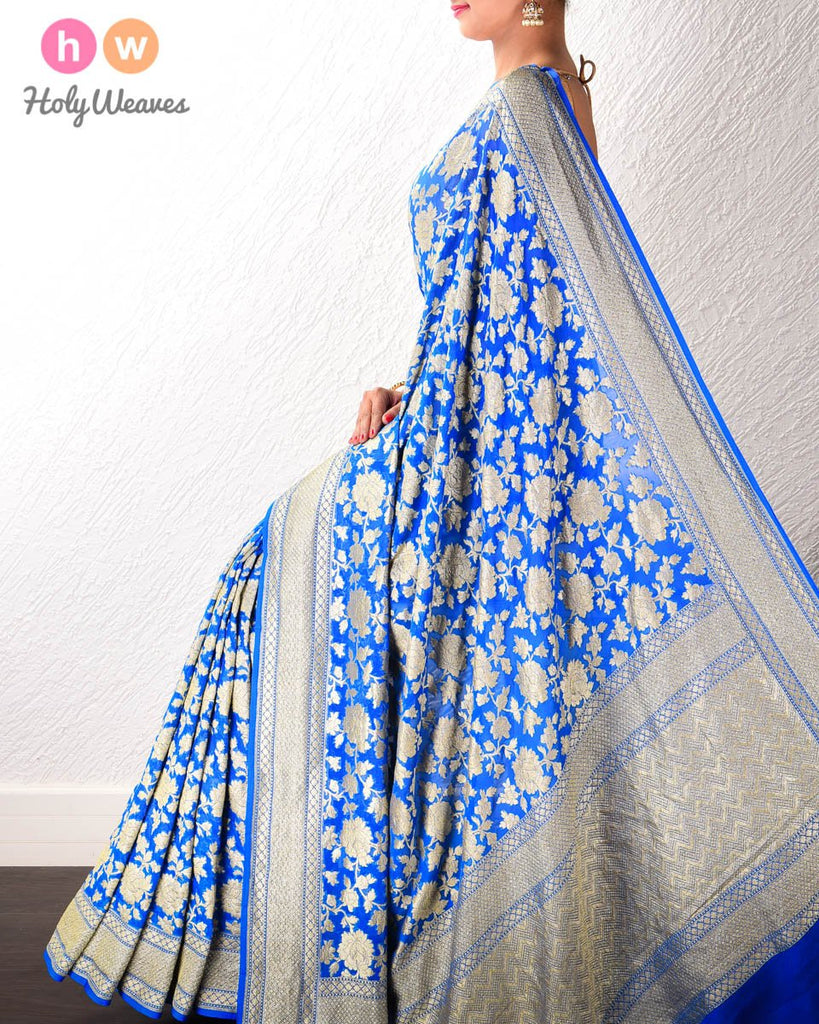 Royal Blue Banarasi Cutwork Brocade Handwoven Khaddi Georgette Saree with Floral Zari Jaal