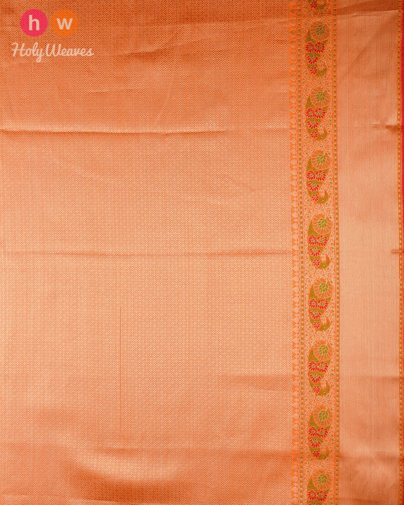 Orange Banarasi Cutwork Brocade Woven Cotton Silk Saree with Meenedar Border & Pallu - HolyWeaves
