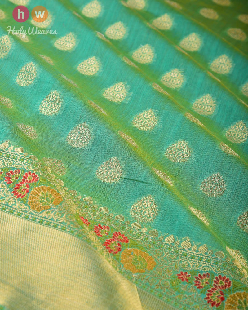 Paris Green Banarasi Cutwork Brocade Woven Cotton Silk Saree with Meenedar Border & Pallu - HolyWeaves