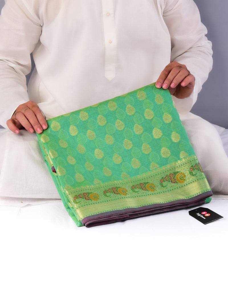 Shot Paris Green Banarasi Cutwork Brocade Woven Cotton Silk Saree with Meenedar Border & Pallu