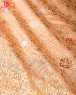 Beige Banarasi Kadhuan (कढ़ुआँ) Brocade Handwoven Katan (कतान) Silk Saree- HolyWeaves