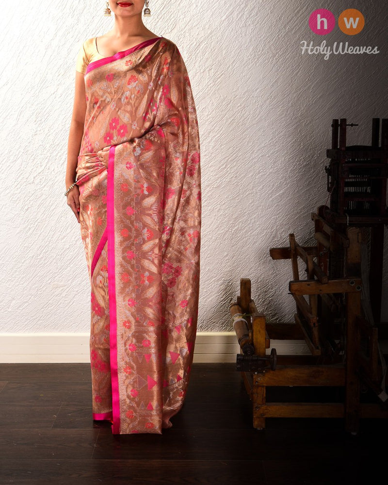 Rosy Brown Banarasi Tilfi Cutwork Brocade Handwoven Kora Silk Saree - HolyWeaves