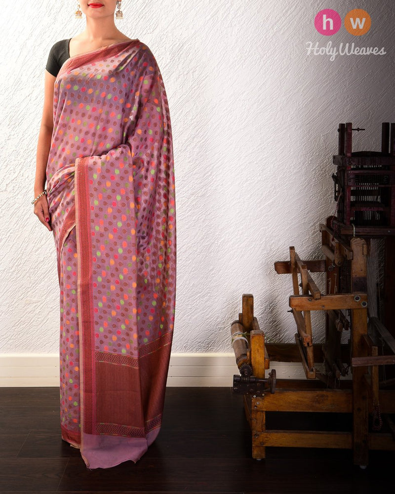 English Lavender Banarasi Meena Resham Buti Cutwork Brocade Woven Cotton Silk Saree with Narrow Border - HolyWeaves