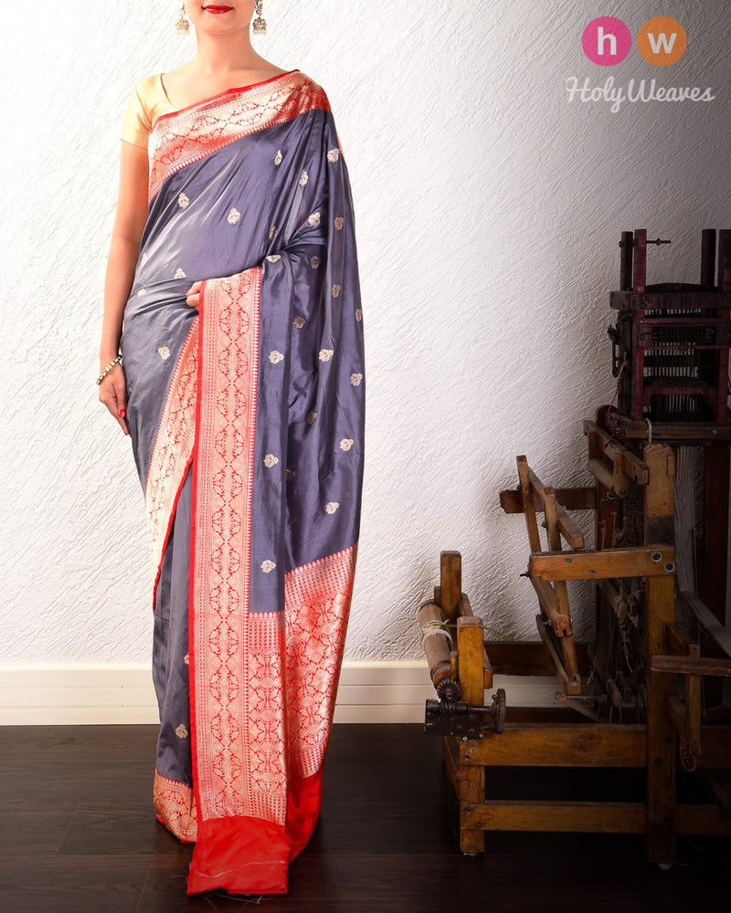 Gray Banarasi Buti Kadhuan Brocade Handwoven Katan Silk Saree with Red Kadiyal Border - HolyWeaves