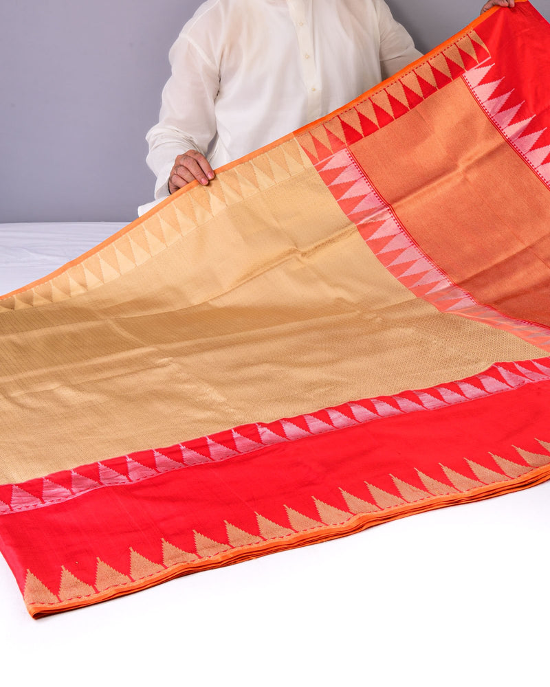 Golden Beige Banarasi Brocade Handwoven Katan Silk Saree with Red Kadiyal Border - HolyWeaves