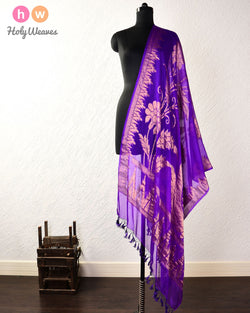 Purple Banarasi Cutwork Brocade Woven Khaddi Georgette Dupatta - HolyWeaves