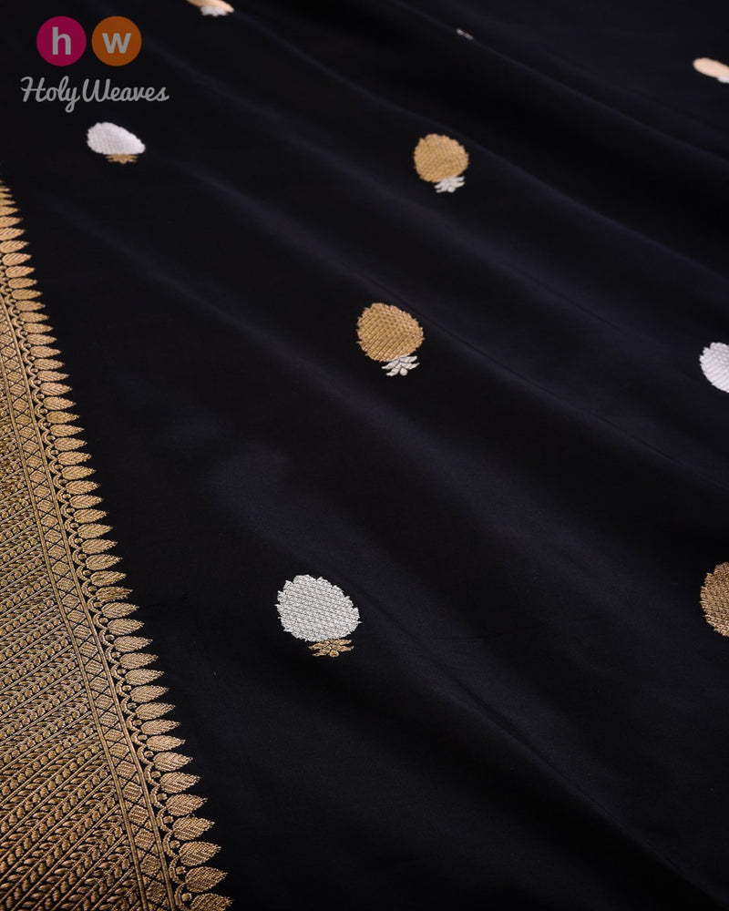 Black Banarasi Buti Alfi Sona-Rupa Kadhuan Brocade Handwoven Katan Silk Fabric with Brocade Border - HolyWeaves