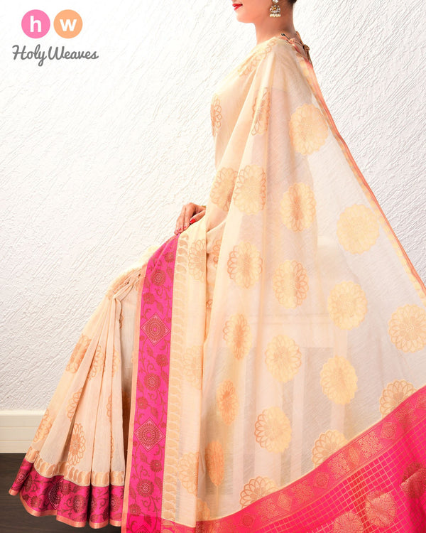 Almond White Cutwork Brocade Woven Cotton Silk Saree with Contrast Pink Border Pallu - HolyWeaves