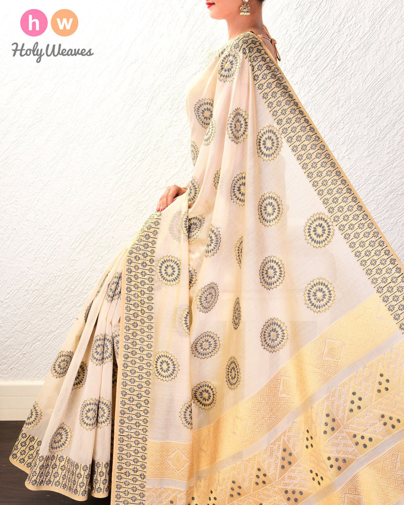 Beige-Black Cutwork Brocade Woven Cotton Silk Saree - HolyWeaves