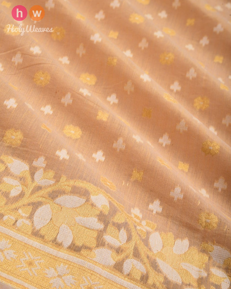 Beige Leheriya Buti Cutwork Brocade Woven Cotton Silk Saree - HolyWeaves