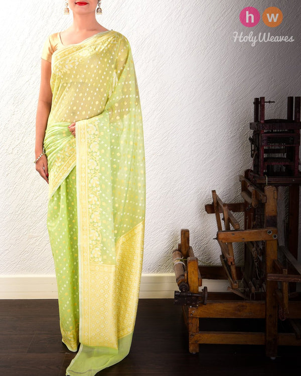 Green Leheriya Buti Cutwork Brocade Woven Cotton Silk Saree - HolyWeaves