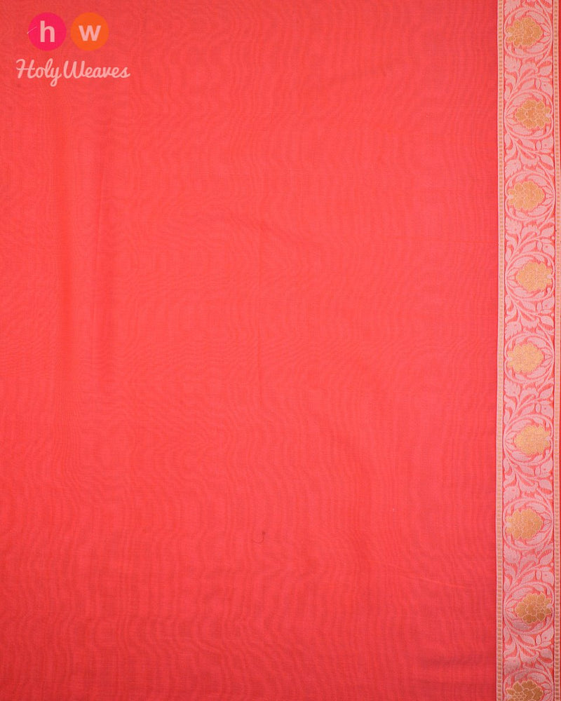 Peach Cutwork Brocade Woven Cotton Silk Saree - HolyWeaves