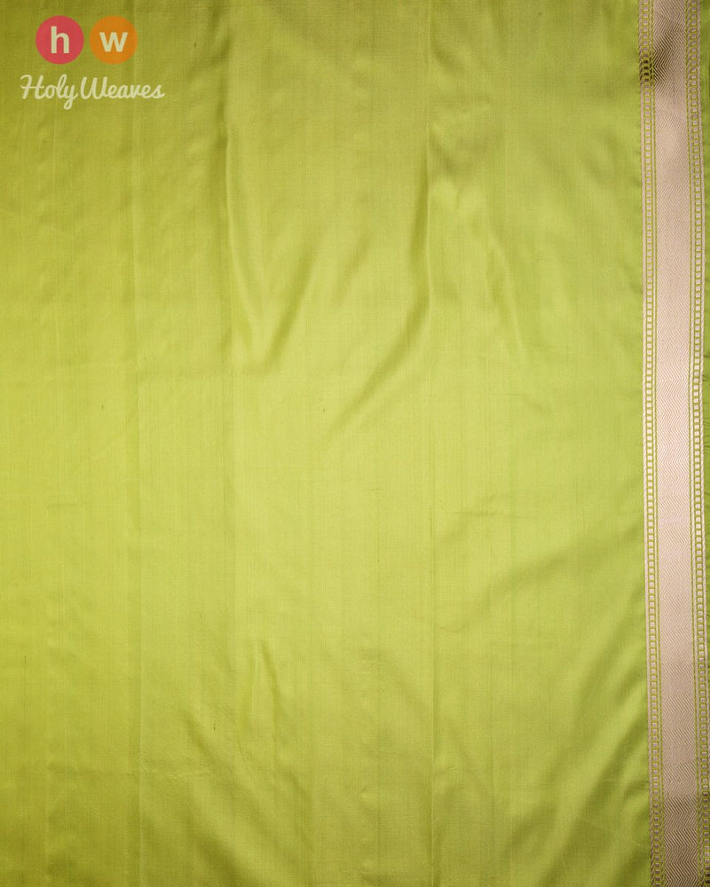 Sage Green Banarasi Kadhuan Brocade Handwoven Katan Silk Saree with Tanchoi Brocade Border - HolyWeaves