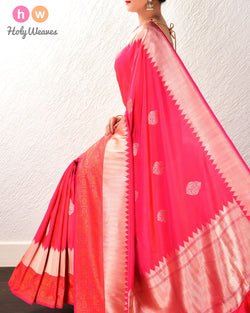 Ruby Pink Banarasi Buta Kadhuan Brocade Handwoven Katan Silk Saree with Tanchoi Brocade Border - HolyWeaves