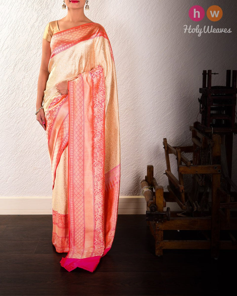 Cream Banarasi Brocade Handwoven Katan Silk Saree with Double Zari - HolyWeaves
