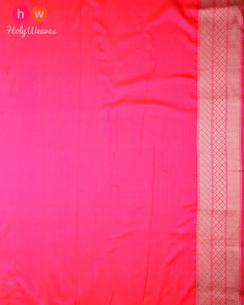 Pink-Orange Banarasi Paisley Jaal Cutwork Brocade Handwoven Katan Silk Saree - HolyWeaves