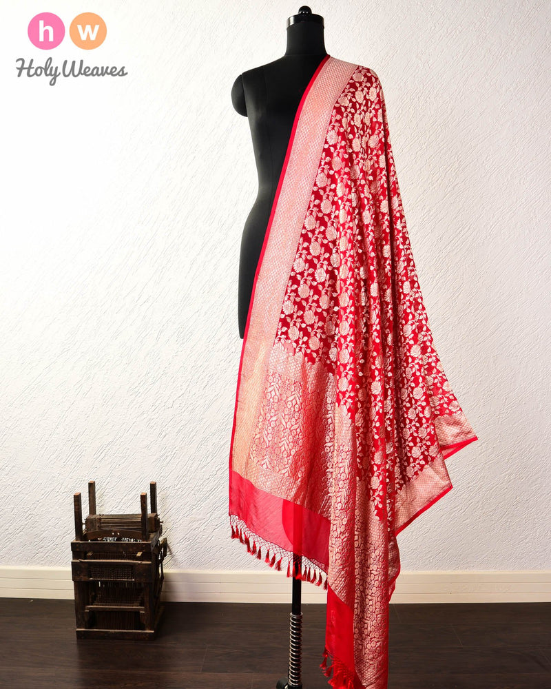 Red Banarasi Cutwork Brocade Handwoven Khaddi Georgette Dupatta - HolyWeaves