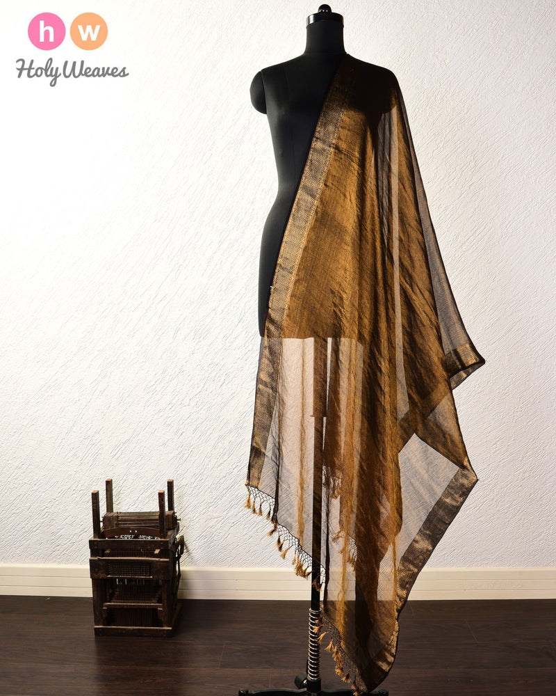 Black Banarasi Cutwork Brocade Handwoven Tissue Georgette Dupatta - HolyWeaves