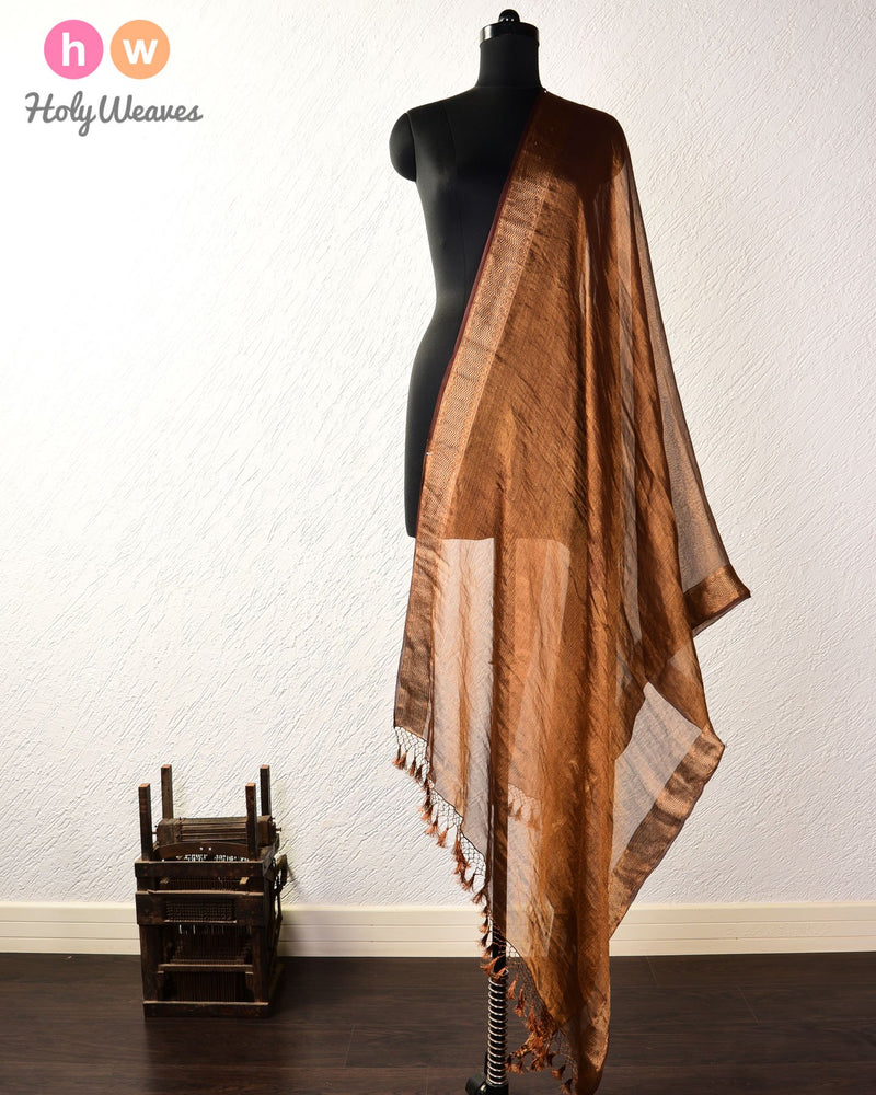 Tuscan Brown Banarasi Cutwork Brocade Handwoven Tissue Georgette Dupatta - HolyWeaves