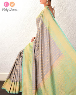 Gray Banarasi Chequered Spades Alfi Cutwork Brocade Handwoven Katan Silk Saree - HolyWeaves