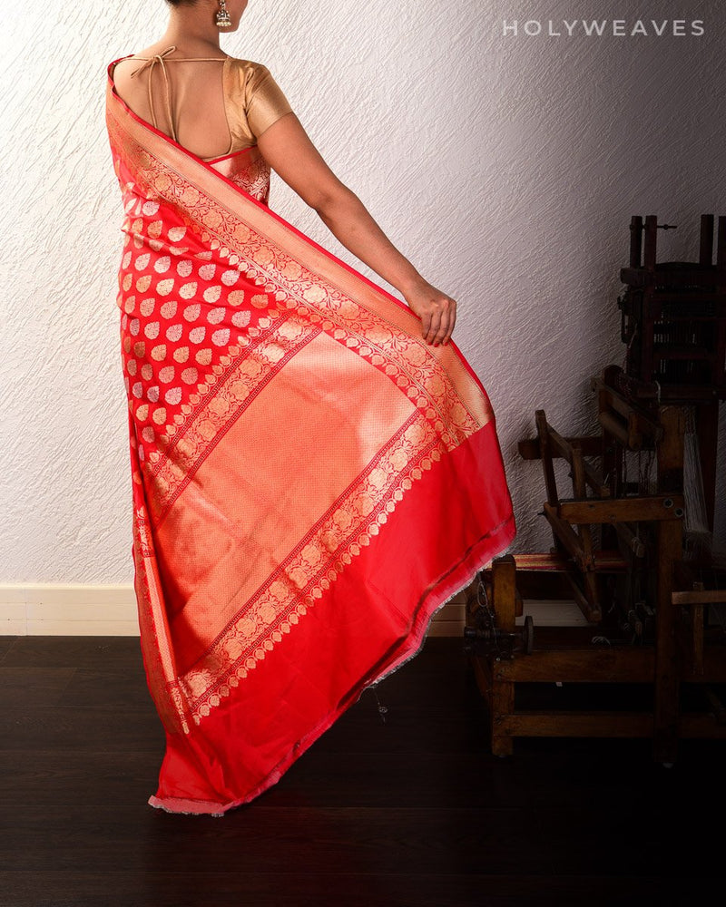 Red Banarasi Buti 3-Yarn Kadhuan Brocade Handwoven Katan Silk Saree - HolyWeaves