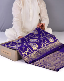 Purple Banarasi Kamal Jaal Alfi Cutwork Brocade Handwoven Muga Silk Saree