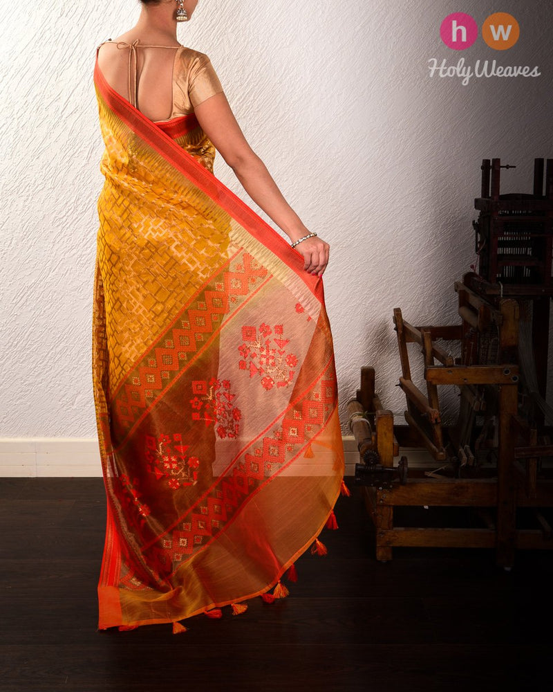 Yellow Banarasi Geometric Grid Cutwork Brocade Handwoven Kora Silk Saree - HolyWeaves