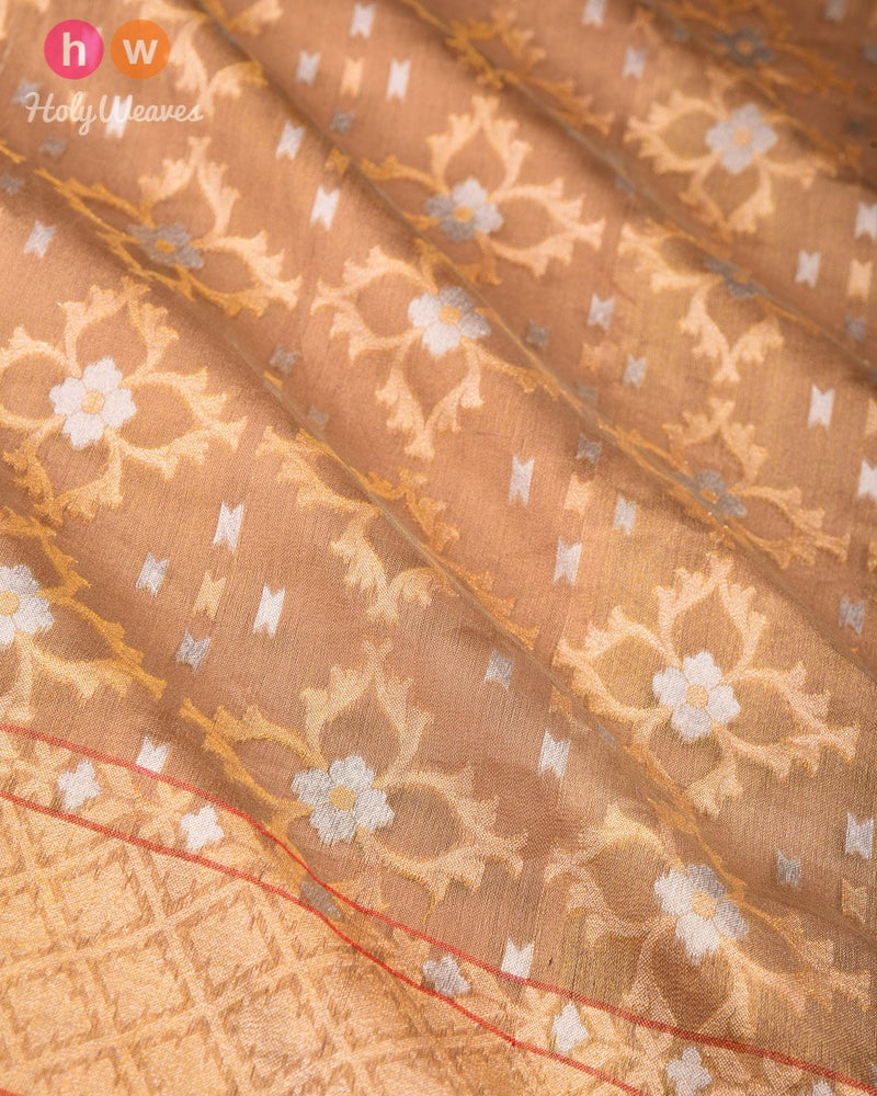 Golden Beige Banarasi Alfi Cutwork Brocade Handwoven Kora Tissue Saree - HolyWeaves