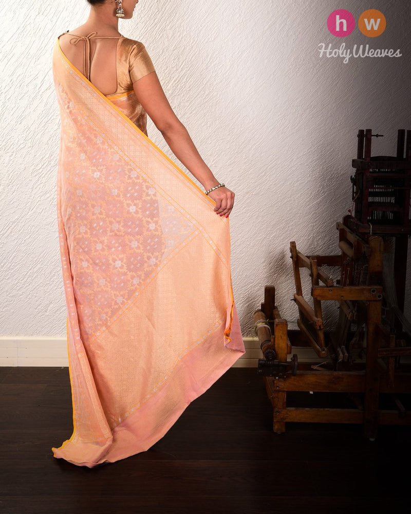 Peach Banarasi Alfi Cutwork Brocade Handwoven Cotton Tissue Saree - HolyWeaves