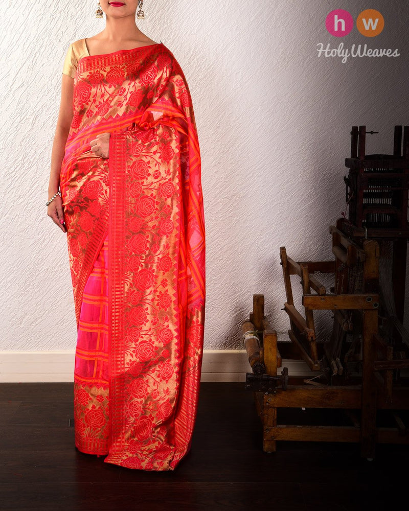 Pink Banarasi Tehri Resham Grid Cutwork Brocade Handwoven Kora Silk Saree with Brocade Border Pallu - HolyWeaves
