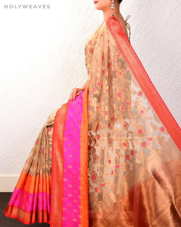 Beige Banarasi Tehri Meena Jaal Cutwork Brocade Handwoven Kora Silk Saree with Satin Border